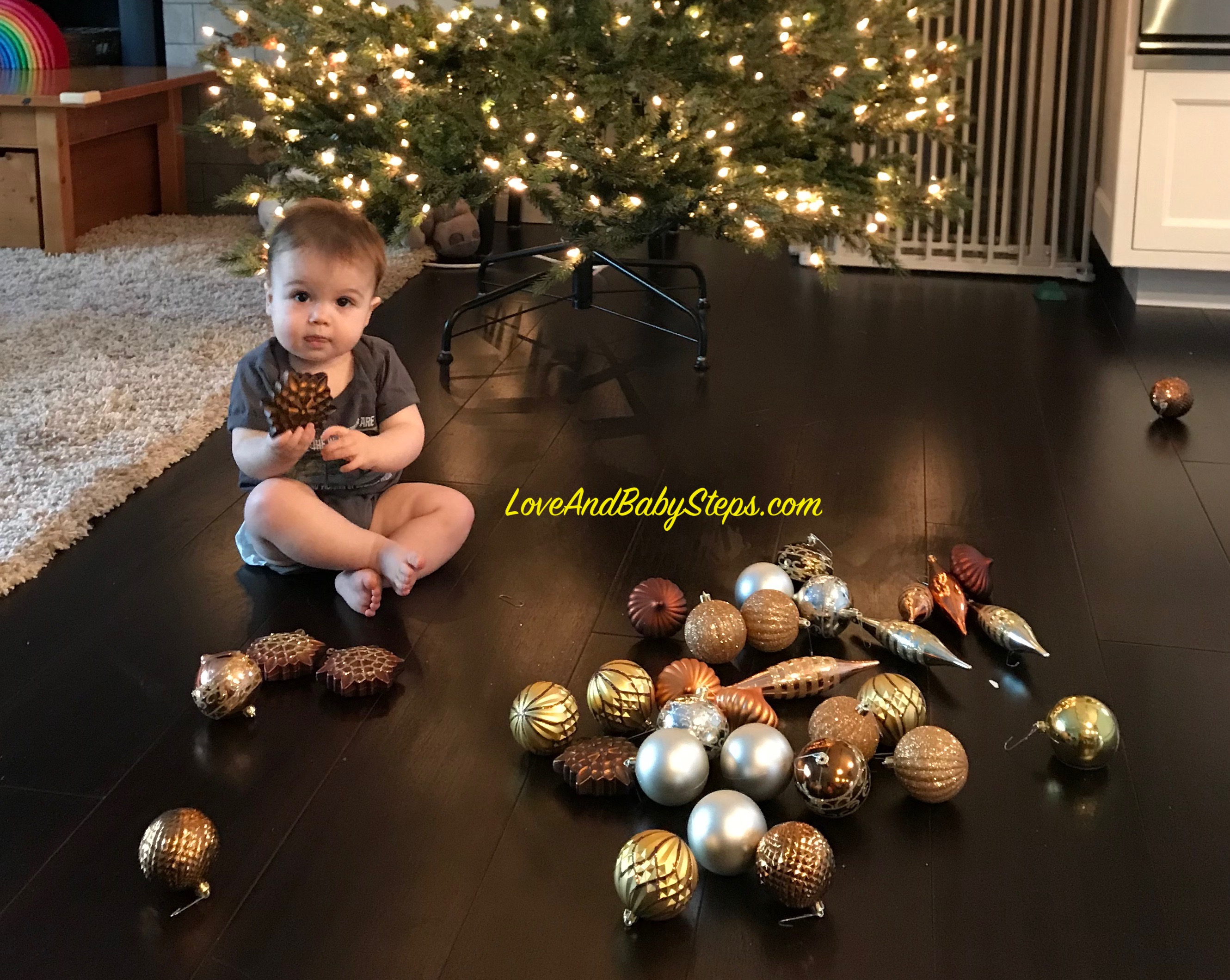 Toddler Proof Christmas Tree.Toddler Proof Christmas Tree Tips Love And Baby Steps